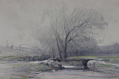 Camille FLERS (1802-1868).  Vue de Brie Comte Robert.  Crayon noir et aquarelle....