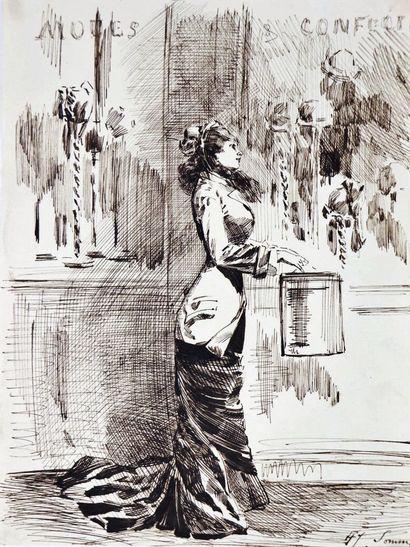 Henry SOMM (1844-1907).  L'élégante.  Encre...