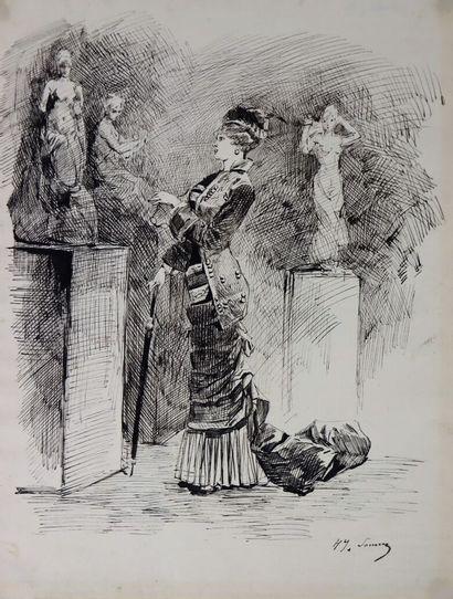 Henry SoMM (1844-1907).  Elégante au musée....