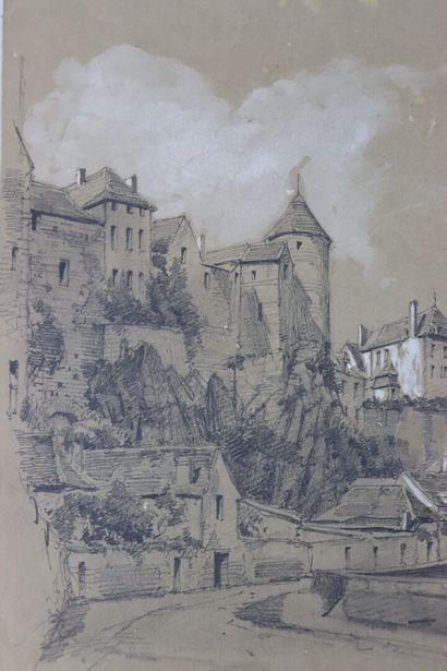 Ecole française du XIXème siècle.  Vue de Semur en Auxois.  Crayon et rehauts de...