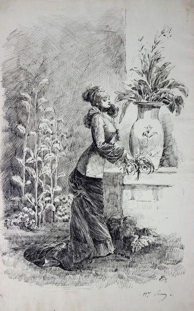 Henry SOMM (1844-1907).  Jeune femme aux...