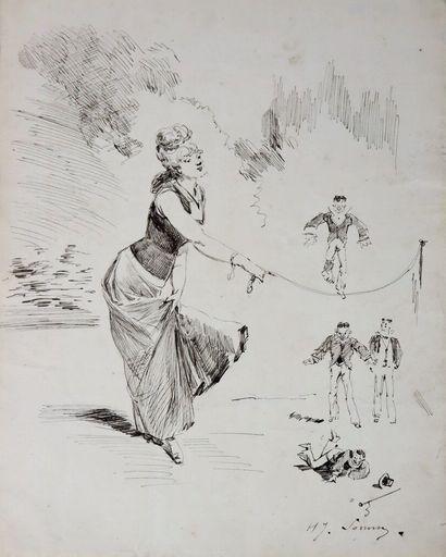 Henry SOMM (1844-1907).  Les acrobaties des...