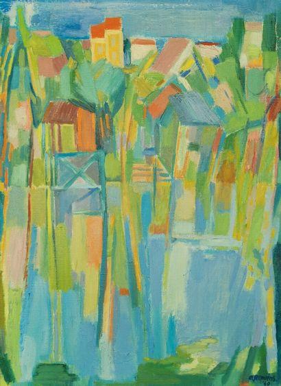 Adrianus REMIËNS (1927).  Bord d'eau, 1969....