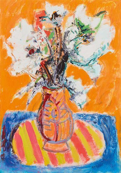 Bernard LORJOU (1908-1986).  Vase de fleurs....