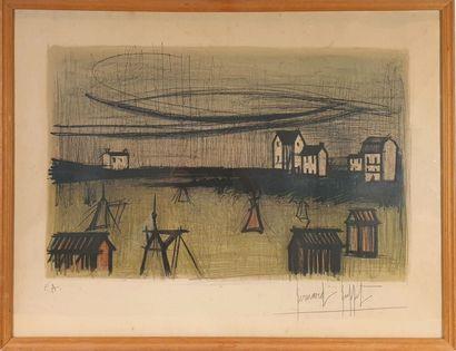Bernard BUFFET (1928-1999).  Vue de village...