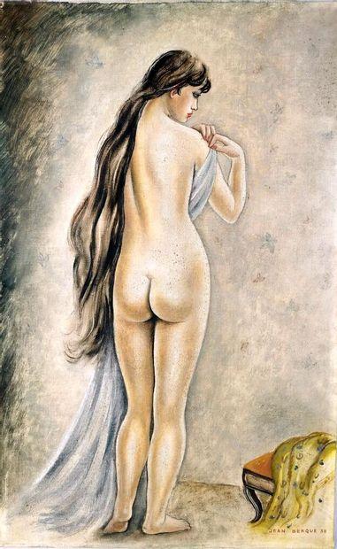 Jean BERQUE (1896-1954).  Nu de dos.  Huile...