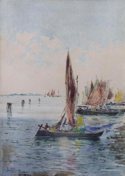 Blas OLLEROS Y QUINTANA (1851-1919).  Bâteaux...