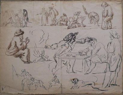 Ecole italienne du XVIIIème siècle.  Feuille...
