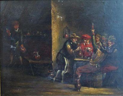 Ecole hollandaise du XIXème siècle.  Buveurs...