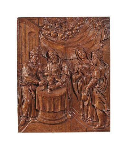 Beau bas-relief en chêne sculpté représentant...