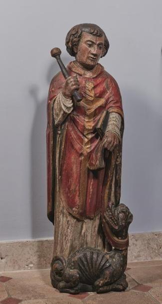 Sculpture en chêne polychrome représentant...