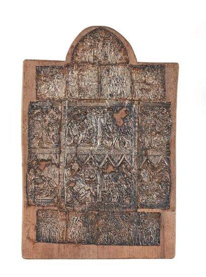 Très rare fragment de reliure d'évangéliaire...