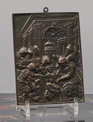 Plaque en bronze représentant la scène de...