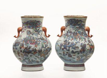 CHINE, XIXème siècle.  Paire d'importants...
