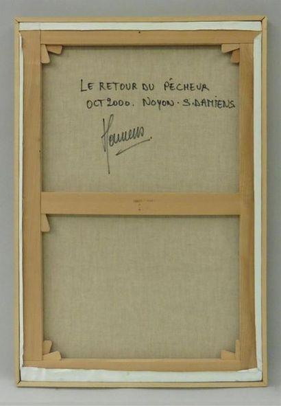 Serge DAMIENS (25 décembre 1954) «Le Retour du Pêcheur» Huile sur toile signée...