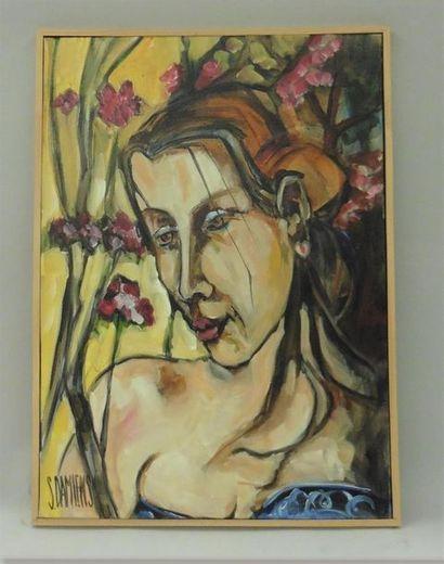 Serge DAMIENS (25 décembre 1954) «Parmi ses fleurs» Huile sur toile signée en...