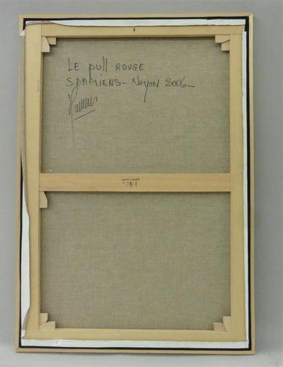 Serge DAMIENS (25 décembre 1954) «Le Pull Rouge» Huile sur toile signée en bas...