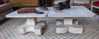 PAIRE DE TABLES BASSES en calcaire sculpté,...