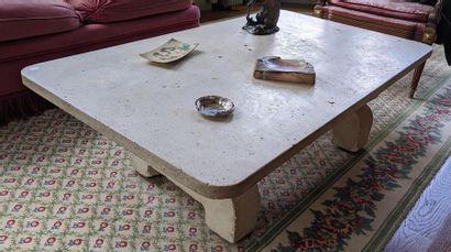 TABLE BASSE rectangulaire en calcaire Travail...