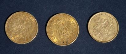 LOT de 3 pièces en or comprenant 1 de 20...