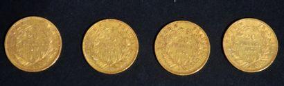 LOT de 4 pièces en or de 20 francs dites...