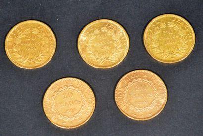 LOT de 5 pièces en or de 20 francs dites...