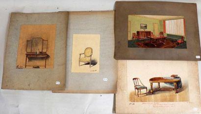 Quatre projets dessinés de mobiliers - un...