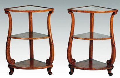 Deux encoignures du XIXe siècle. Haut.: 75...