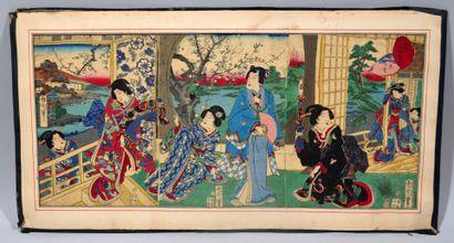 Réunion de deux estampes japonaise comprenant...