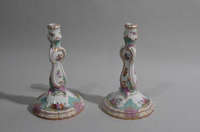 MEISSEN  Pair of porcelain candleholders...