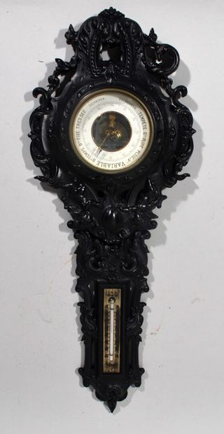 BAROMETER THERMOMETER in blackened wood with...