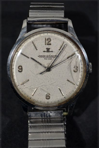 JAEGER LECOULTRE  Steel wristwatch with round...