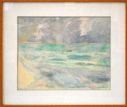 R. LEONHARDT (XXe)  «Bord de plage»  Aquarelle...
