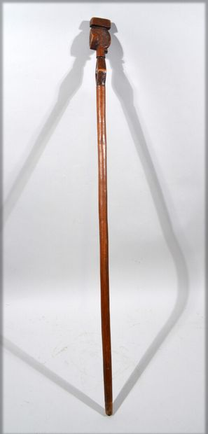 Carved wooden cane with a pommel representing...