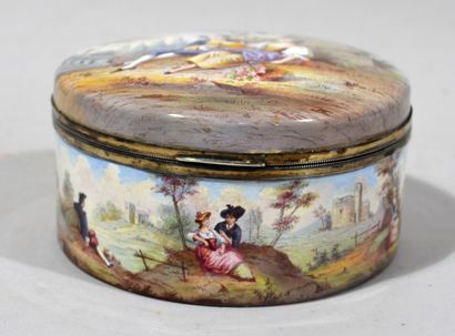 Round box with enamelled decoration of gallant...