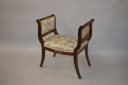 TABOURET in mahogany and mahogany veneer, armrests slightly upside down and rests...