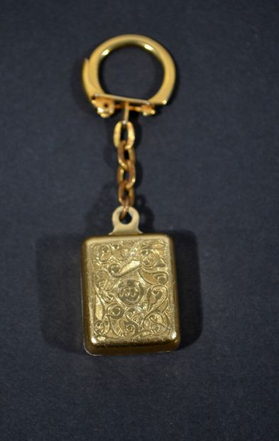 AIR AFRICA  Keychain in chiselled gold metal...