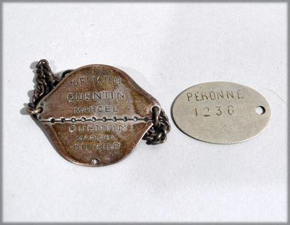 Deux plaques militaires de l'officier QUENTIN...