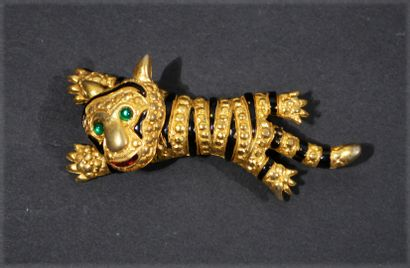 Gilded metal Tiger Brooch with a mobile and...