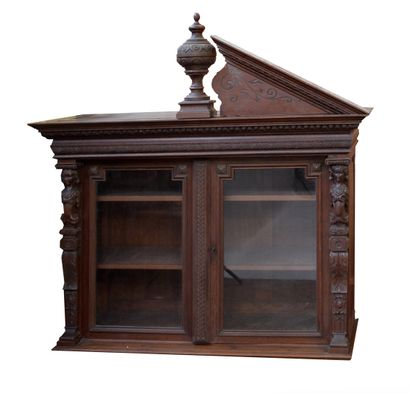 Carved oak sideboard top with caryatid decoration It opens with two glass doors,...