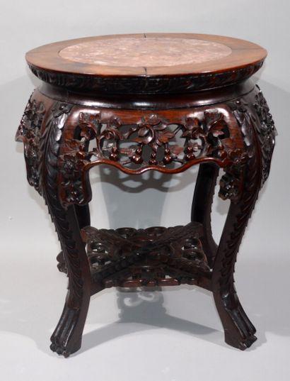PETITE TABLE GUERIDON ronde en bois sculpté...