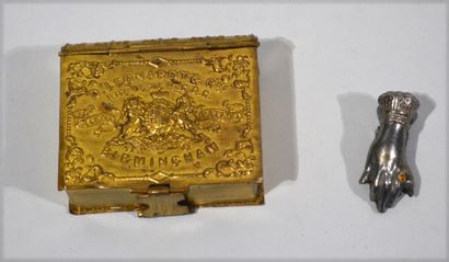 Book-shaped embossed brass FEATHER BOX decorated...