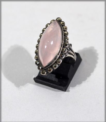Silver Shuttle ring set with a pink quartz...