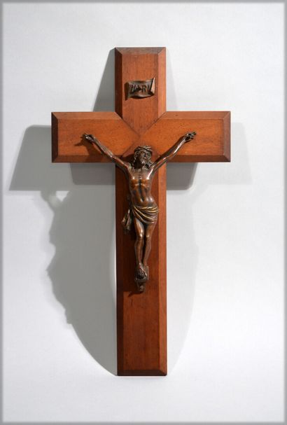 Bronze Christ with a brown patina lightly...