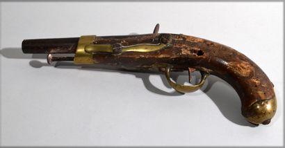 Pistolet à silex modèle An XIII à crosse...