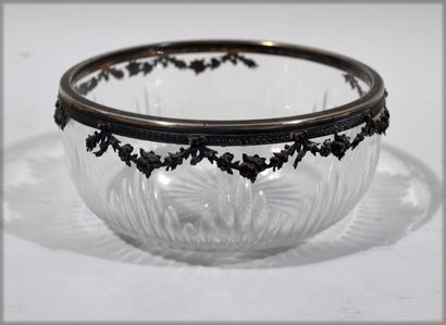Cast crystal bowl with Minerva silver mount...