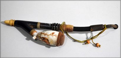 Ebony and horn PIPE, porcelain tank with...