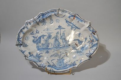 Oval blue and white enamelled earthenware...