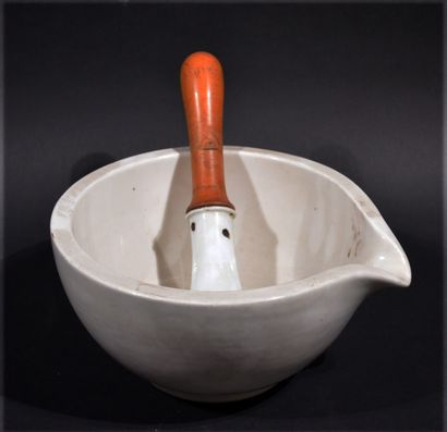 Porcelain mortar with porcelain pestle and...