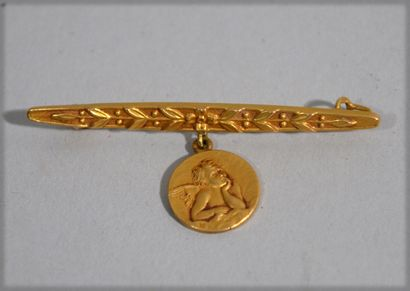 Brooch in 18 K (750/oo) yellow gold with...